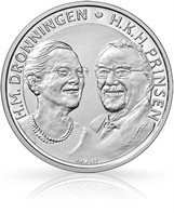 Golden wedding anniversary (HM the Queen and HRH the Prince), 500-krone silver coin